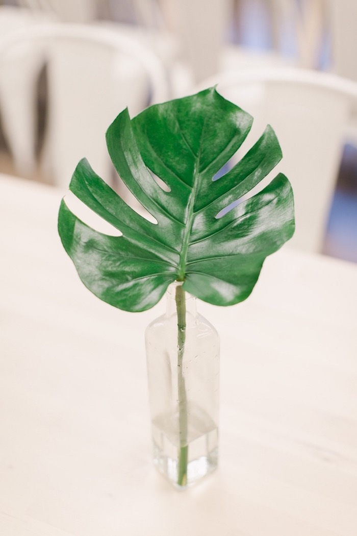 Tropical Leaf Centerpiece from an In N Out Inspired 1st Birthday Party on Kara's Party Ideas | KarasPartyIdeas.com (22)