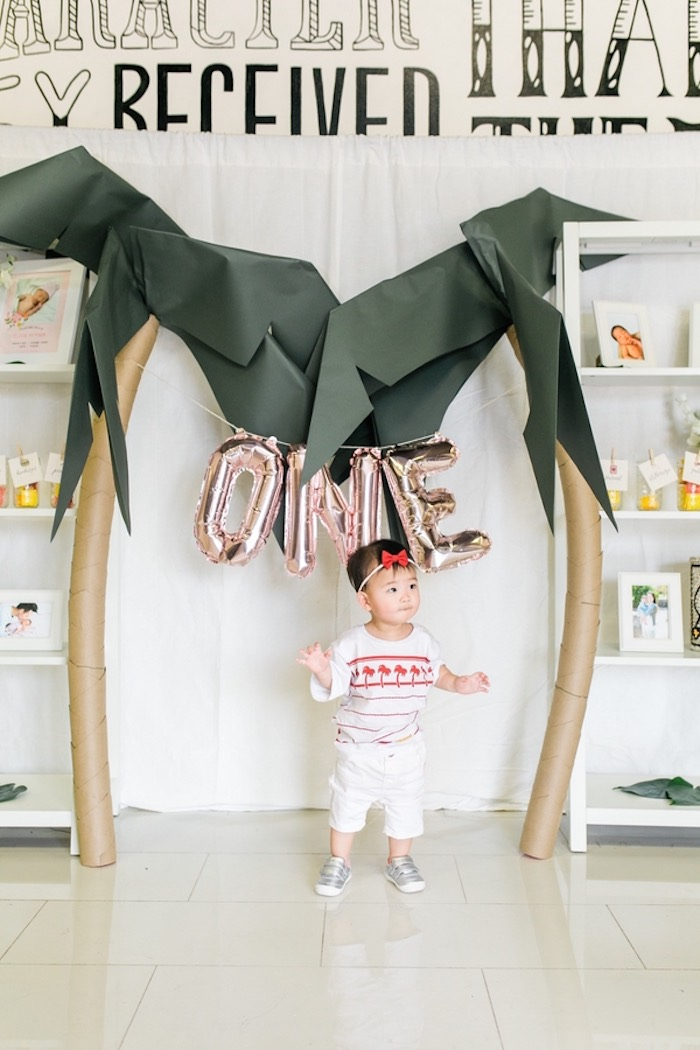 Paper Palm Trees + Balloon Banner from an In N Out Inspired 1st Birthday Party on Kara's Party Ideas | KarasPartyIdeas.com (36)