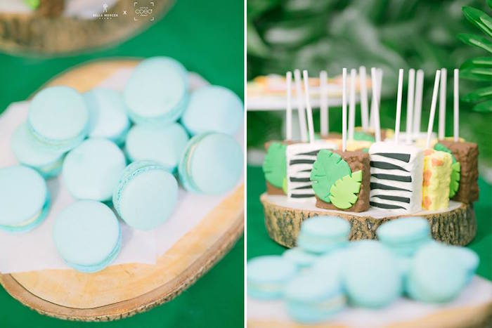 Crispy Treats & Macarons from a Jungle Safari Birthday Party on Kara's Party Ideas | KarasPartyIdeas.com (20)