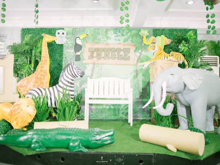 Jungle Photo Booth + Stage from a Jungle Safari Birthday Party on Kara's Party Ideas | KarasPartyIdeas.com (18)