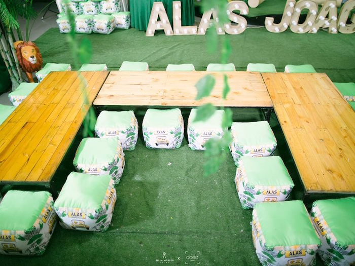 Jungle Themed Kid Table from a Jungle Safari Birthday Party on Kara's Party Ideas | KarasPartyIdeas.com (17)