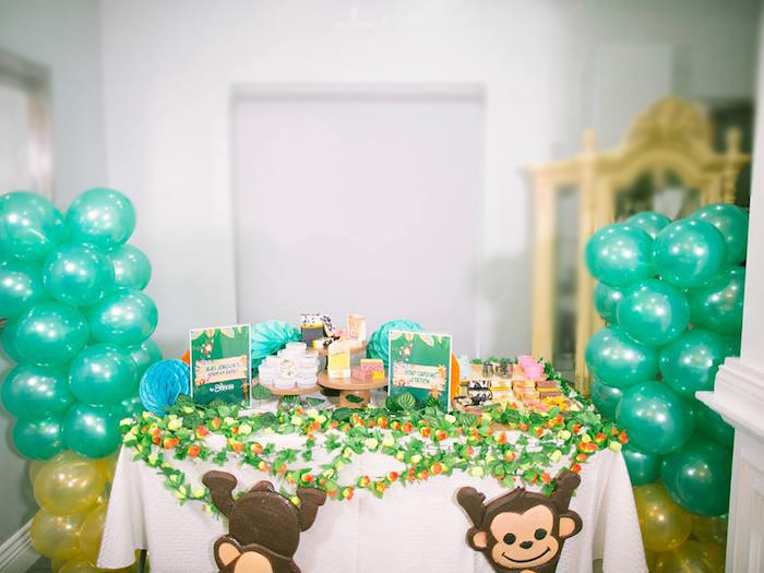 Jungle Party Table from a Jungle Safari Birthday Party on Kara's Party Ideas | KarasPartyIdeas.com (14)