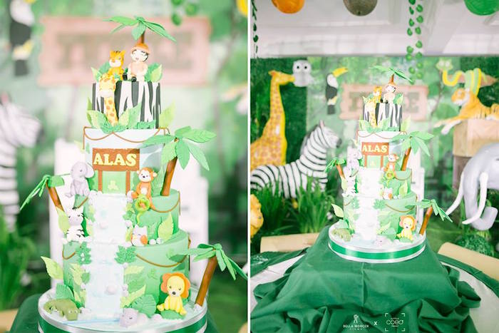 Jungle Cake from a Jungle Safari Birthday Party on Kara's Party Ideas | KarasPartyIdeas.com (10)