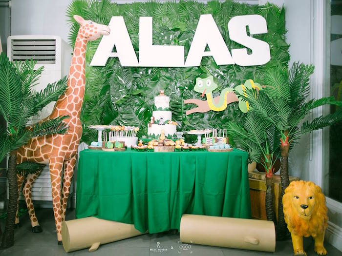 Jungle Themed Dessert Table from a Jungle Safari Birthday Party on Kara's Party Ideas | KarasPartyIdeas.com (8)