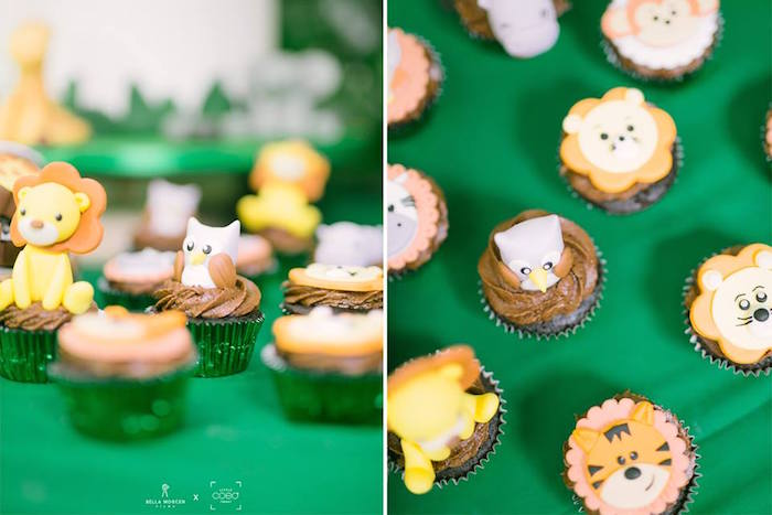 Jungle Cupcakes from a Jungle Safari Birthday Party on Kara's Party Ideas | KarasPartyIdeas.com (7)