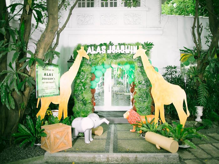 Jungle Party Entrance from a Jungle Safari Birthday Party on Kara's Party Ideas | KarasPartyIdeas.com2