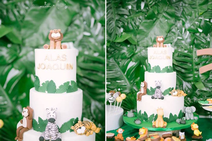 Jungle Cake from a Jungle Safari Birthday Party on Kara's Party Ideas | KarasPartyIdeas.com (26)