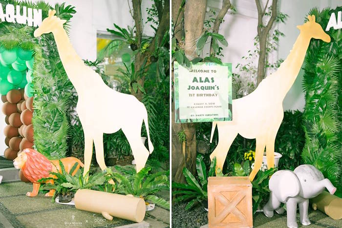 Giraffe Entrance from a Jungle Safari Birthday Party on Kara's Party Ideas | KarasPartyIdeas.com (25)