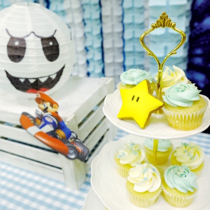 Cloud Cupcakes from a Mario Kart Birthday Party on Kara's Party Ideas | KarasPartyIdeas.com (18)