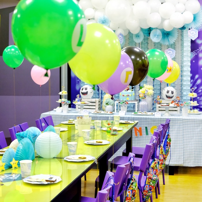Ghost Party Table from a Mario Kart Birthday Party on Kara's Party Ideas | KarasPartyIdeas.com (16)