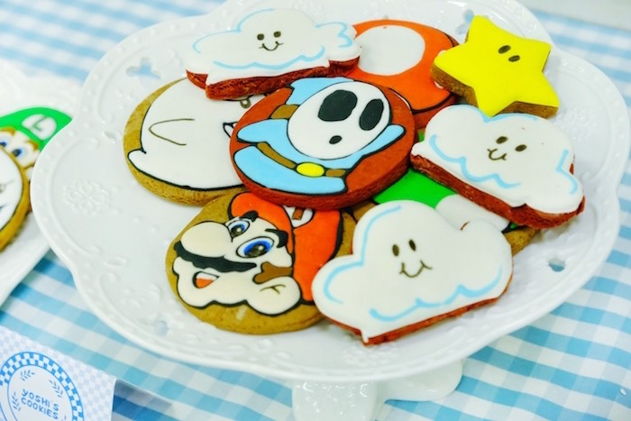 Mario Themed Sugar Cookies from a Mario Kart Birthday Party on Kara's Party Ideas | KarasPartyIdeas.com (14)