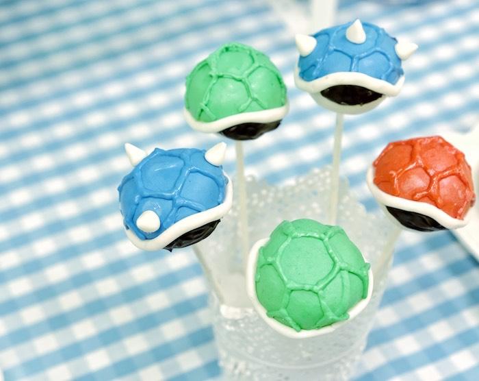 Turtle Shell Cake Pops from a Mario Kart Birthday Party on Kara's Party Ideas | KarasPartyIdeas.com (9)