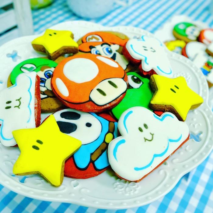Mario- inspired Sugar Cookies from a Mario Kart Birthday Party on Kara's Party Ideas | KarasPartyIdeas.com (27)