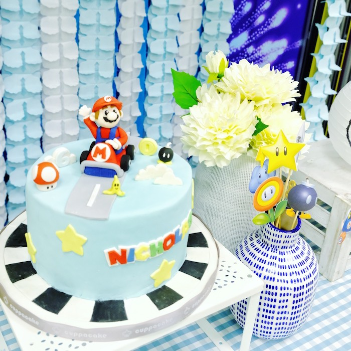Mario Kart Cake from a Mario Kart Birthday Party on Kara's Party Ideas | KarasPartyIdeas.com (22)
