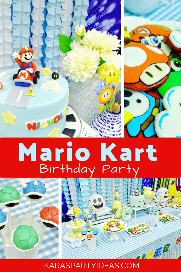 Remarkable Karas Party Ideas Mario Kart Birthday Party Karas Party Ideas Personalised Birthday Cards Sponlily Jamesorg