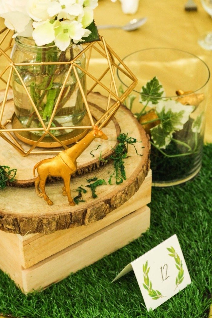 Safari Party Table Centerpiece from a Modern Rustic Safari Birthday Party on Kara's Party Ideas | KarasPartyIdeas.com (17)
