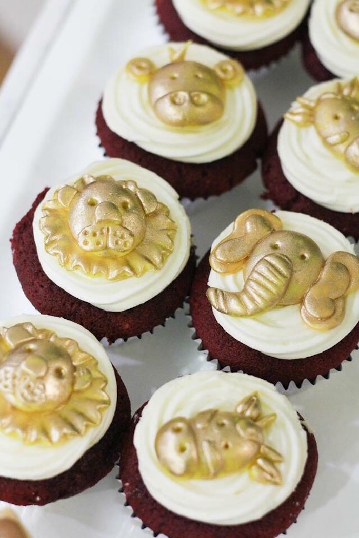 Glam Safari Animal Cupcakes from a Modern Rustic Safari Birthday Party on Kara's Party Ideas | KarasPartyIdeas.com (11)