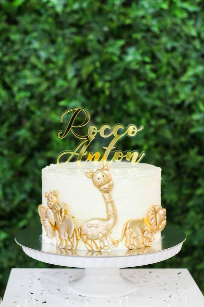 Glam Animal Safari Cake from a Modern Rustic Safari Birthday Party on Kara's Party Ideas | KarasPartyIdeas.com (9)