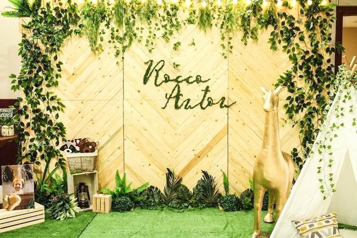 Wood Planked Safari Party Backdrop from a Modern Rustic Safari Birthday Party on Kara's Party Ideas | KarasPartyIdeas.com (25)