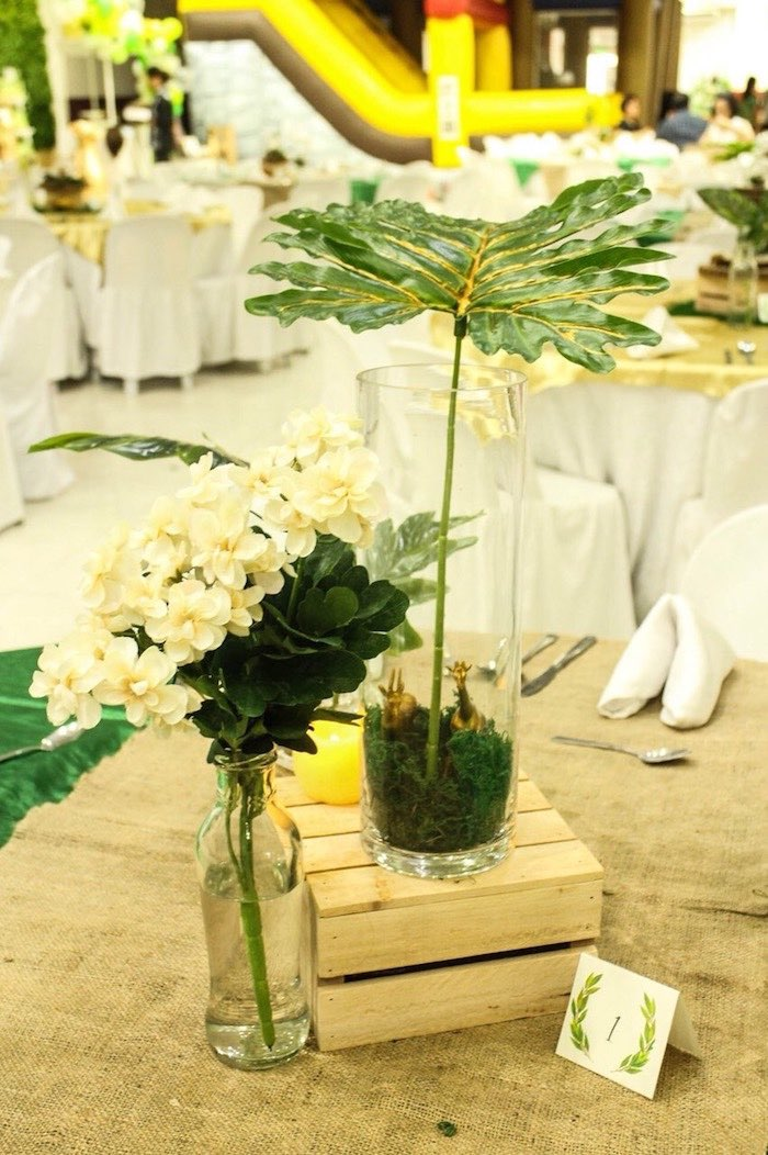 Safari Party Blooms + Centerpieces from a Modern Rustic Safari Birthday Party on Kara's Party Ideas | KarasPartyIdeas.com (24)