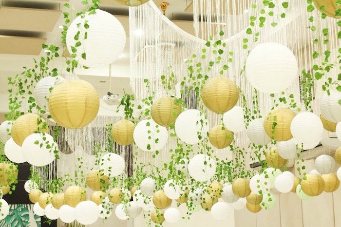 Safari Party - Paper Lantern & Vine Ceilingscape from a Modern Rustic Safari Birthday Party on Kara's Party Ideas | KarasPartyIdeas.com (22)
