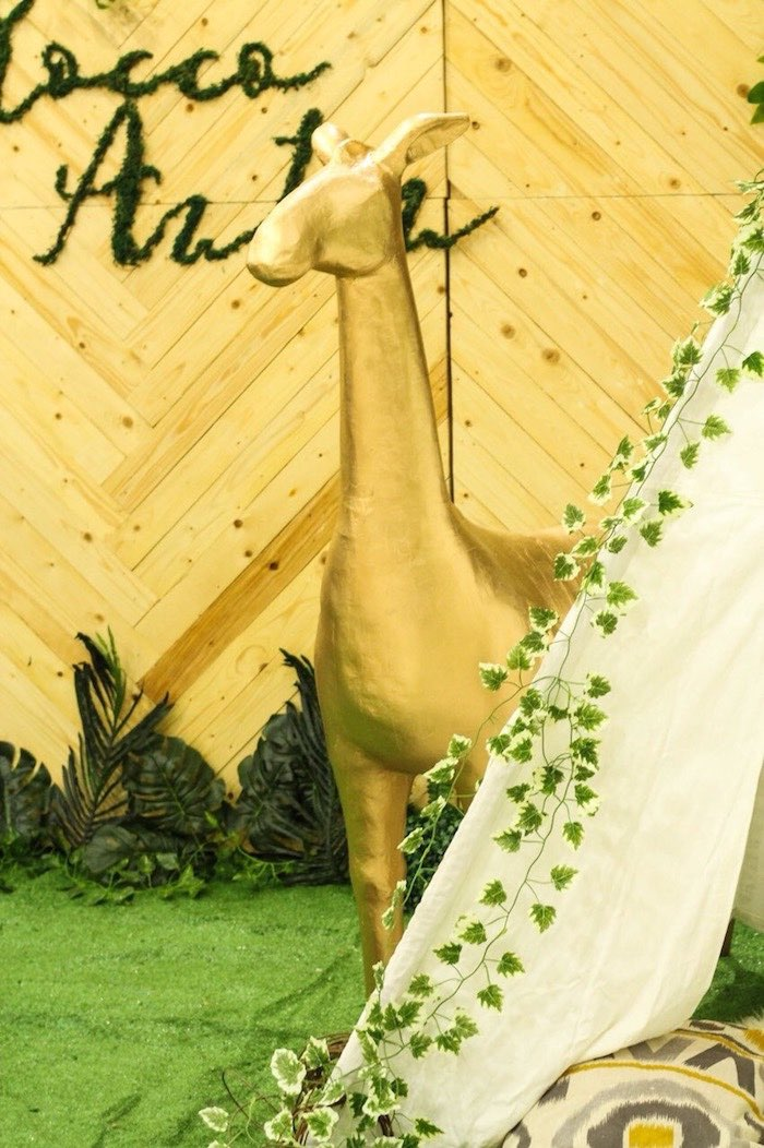 Glam Giraffe Prop from a Modern Rustic Safari Birthday Party on Kara's Party Ideas | KarasPartyIdeas.com (20)