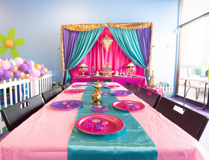 Moroccan Party Tables from a Moroccan Genie Birthday Party on Kara's Party Ideas | KarasPartyIdeas.com (13)