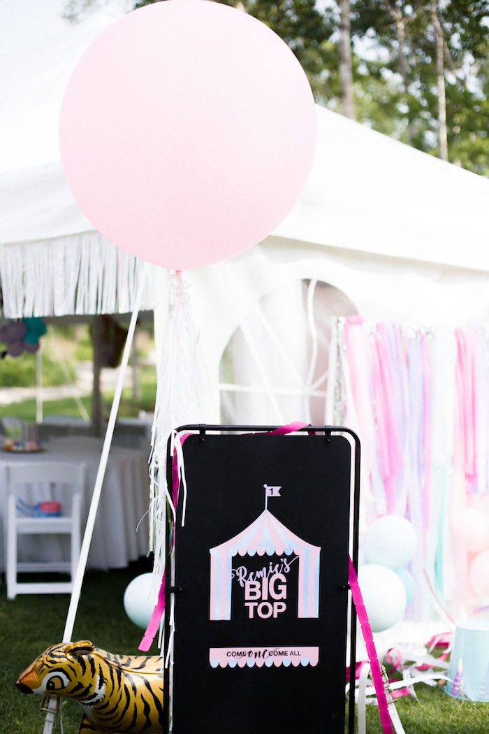 Pastel Big Top from a Pastel Circus Animal Birthday Party on Kara's Party Ideas | KarasPartyIdeas.com (13)