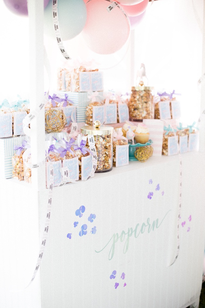 Popcorn Stand from a Pastel Circus Animal Birthday Party on Kara's Party Ideas | KarasPartyIdeas.com (12)