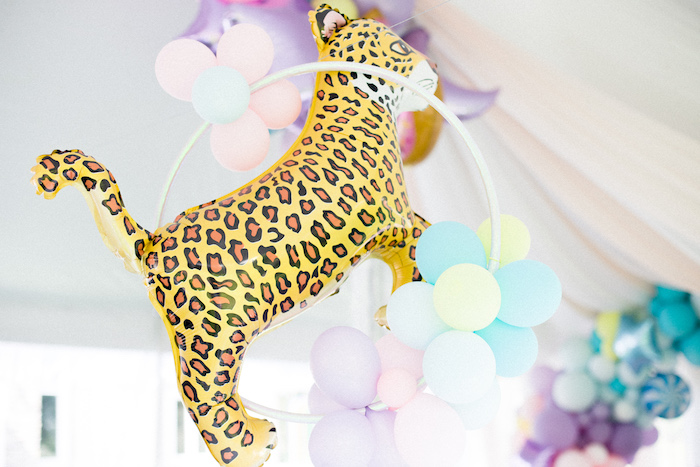 Pastel Balloon Animal Hoop from a Pastel Circus Animal Birthday Party on Kara's Party Ideas | KarasPartyIdeas.com (23)