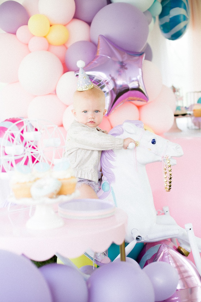 Rocking Horse from a Pastel Circus Animal Birthday Party on Kara's Party Ideas | KarasPartyIdeas.com (21)