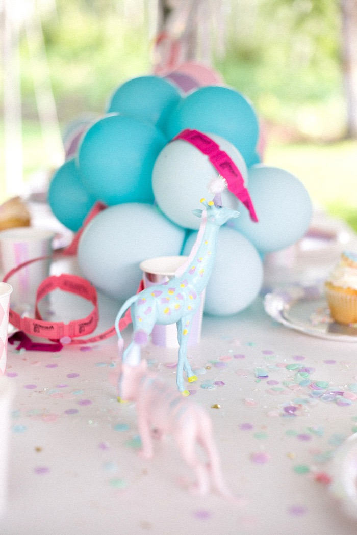 Pastel Animal Decorations + Guest Table from a Pastel Circus Animal Birthday Party on Kara's Party Ideas | KarasPartyIdeas.com (20)