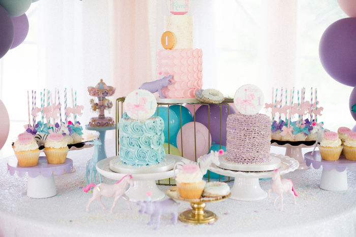 Pastel Circus Party Table from a Pastel Circus Animal Birthday Party on Kara's Party Ideas | KarasPartyIdeas.com (19)