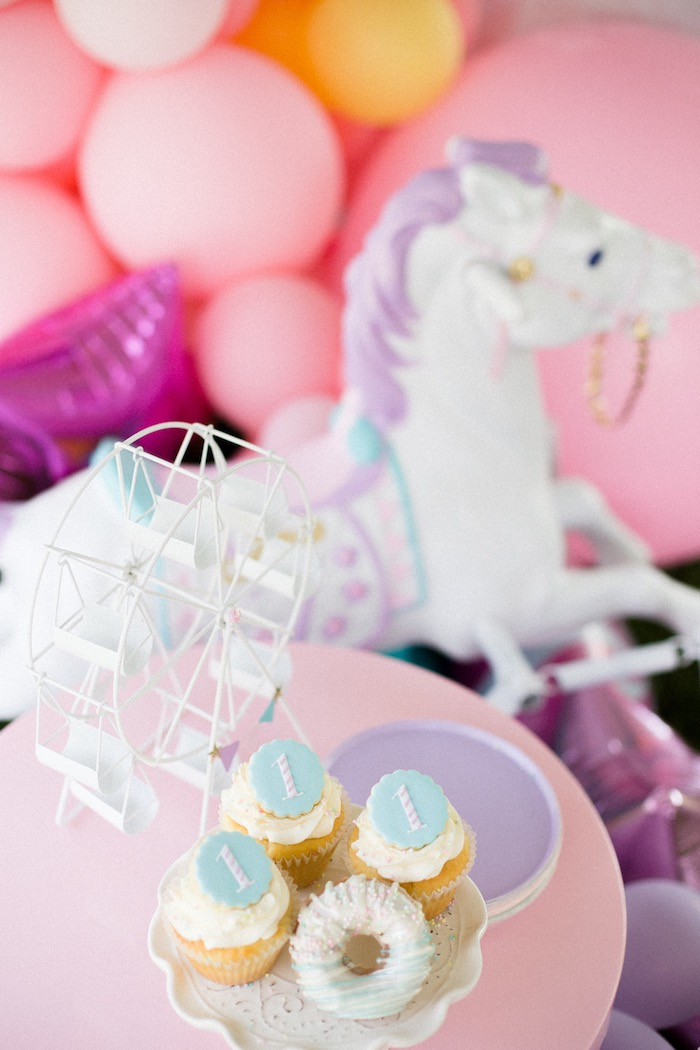 Cupcakes from a Pastel Circus Animal Birthday Party on Kara's Party Ideas | KarasPartyIdeas.com (17)