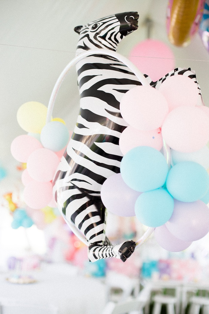 Pastel Balloon Animal Hoop from a Pastel Circus Animal Birthday Party on Kara's Party Ideas | KarasPartyIdeas.com (16)