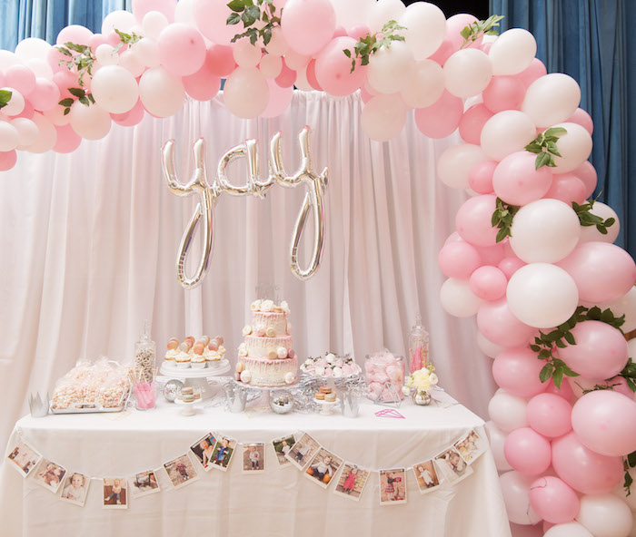 Pink Boho Balloon Garland + Dessert Table from a Pink Boho 2nd Birthday Party on Kara's Party Ideas | KarasPartyIdeas.com (23)