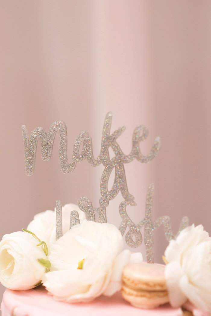 Make a Wish Glitter Cake Topper from a Pink Boho 2nd Birthday Party on Kara's Party Ideas | KarasPartyIdeas.com (19)