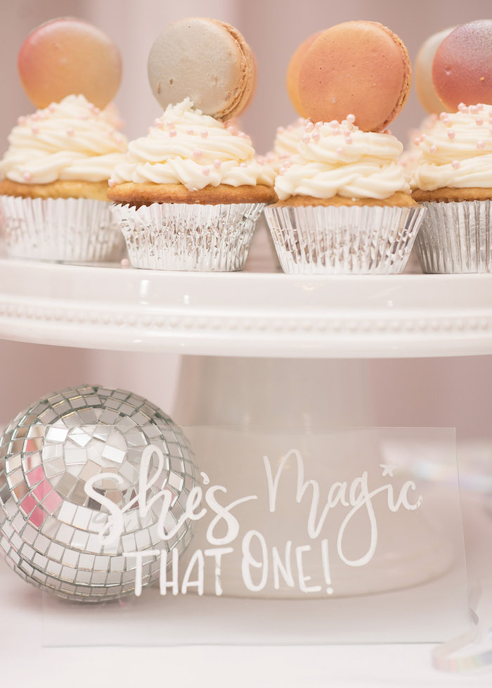 Macaron-topped Cupcakes from a Pink Boho 2nd Birthday Party on Kara's Party Ideas | KarasPartyIdeas.com (17)