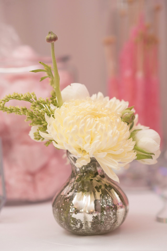 Silver Vase Floral Arrangement from a Pink Boho 2nd Birthday Party on Kara's Party Ideas | KarasPartyIdeas.com (11)