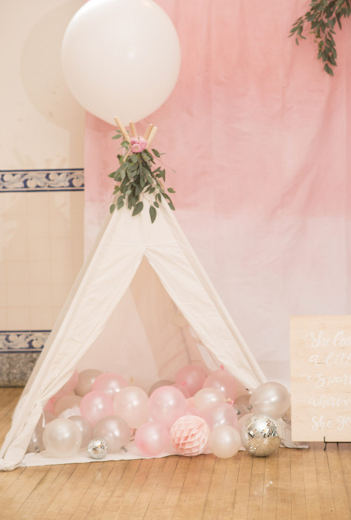 Sparkle Tent Lounge from a Pink Boho 2nd Birthday Party on Kara's Party Ideas | KarasPartyIdeas.com (10)