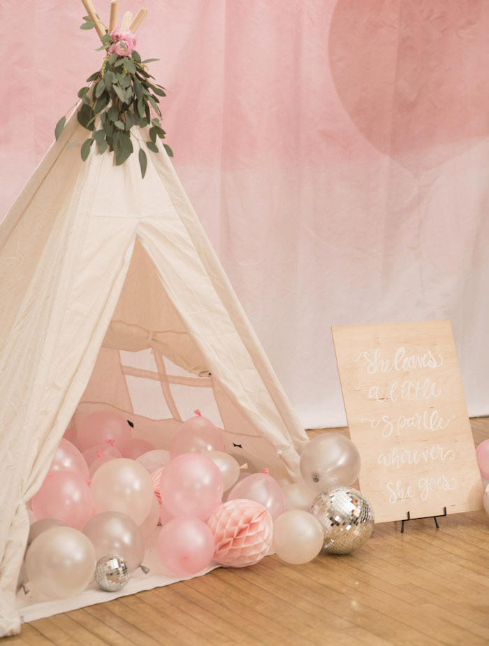 Sparkle Tent Lounge from a Pink Boho 2nd Birthday Party on Kara's Party Ideas | KarasPartyIdeas.com (8)