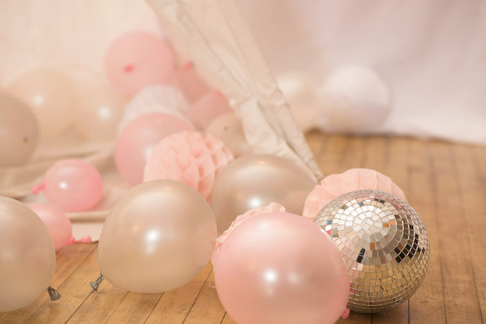 Balloons, Tissue Decorations and Disco Balls from a Pink Boho 2nd Birthday Party on Kara's Party Ideas | KarasPartyIdeas.com (6)
