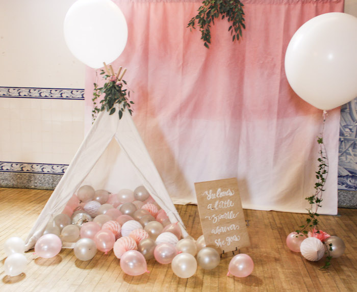 Pink Ombre Tent Lounge from a Pink Boho 2nd Birthday Party on Kara's Party Ideas | KarasPartyIdeas.com (5)