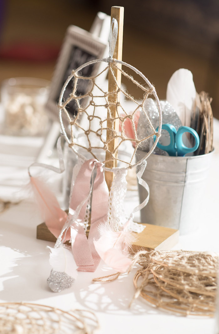 Dreamcatcher Crafting Station form a Pink Boho 2nd Birthday Party on Kara's Party Ideas | KarasPartyIdeas.com (31)
