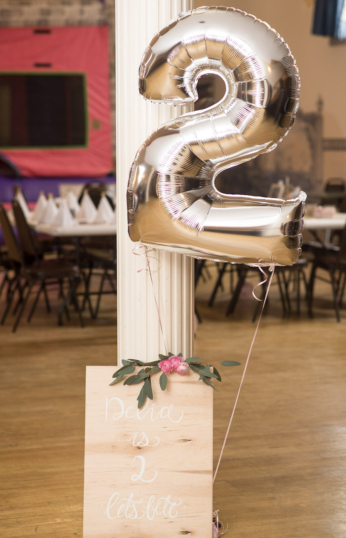 Boho Balloon & Wood Sign from a Pink Boho 2nd Birthday Party on Kara's Party Ideas | KarasPartyIdeas.com (29)
