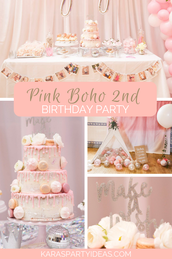 Pink Boho 2nd Birthday Partyvia Kara's Party Ideas - KarasPartyIdeas.com