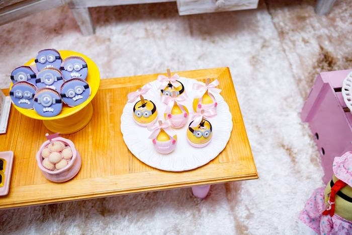 Minion Cookies + Pops from a Pink Girly Minion Birthday Party on Kara's Party Ideas | KarasPartyIdeas.com (22)
