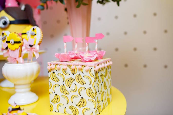Banana Box Dessert Pedestal from a Pink Girly Minion Birthday Party on Kara's Party Ideas | KarasPartyIdeas.com (21)