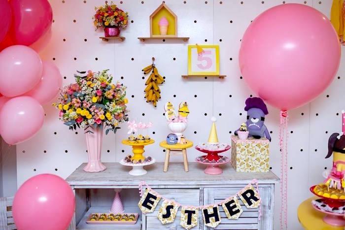 Minion Party Table from a Pink Girly Minion Birthday Party on Kara's Party Ideas | KarasPartyIdeas.com (20)