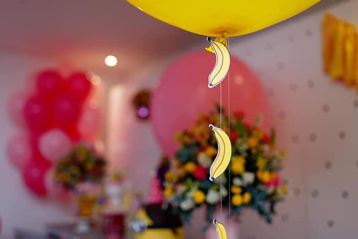 Banana Garland Balloon Tail from a Pink Girly Minion Birthday Party on Kara's Party Ideas | KarasPartyIdeas.com (17)